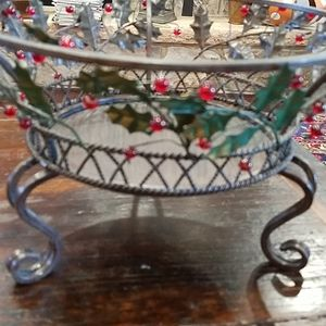 Never Used PartyLite Holly Centerpiece Bowl